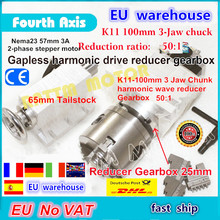 EU free VAT 4th rotary axis Gapless harmonic reducer Gearbox 3 jaw K11 100mm dividing head&65mm Tailstock for CNC Router Milling