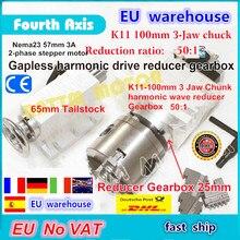 UE di trasporto IVA 4th asse rotante Gapless armonico riduttore riduttore di 3 jaw K11 100mm divisore e 65 millimetri Contropunta per router di CNC di Fresatura