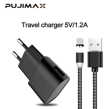 PUJIMAX USB Charger with 1m magnetic Cable For Samsung xiaomi 5V 1.2A Wall/Travel Portable Mobile Phone Charging