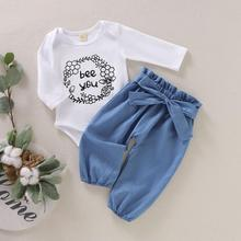 Get more info on the Children Clothing Set Newborn Kids Baby Girls Long Sleeve Outfits Baby Girls Letter Bodysuit+Bowknot Imitation Jeans Pants 9.24