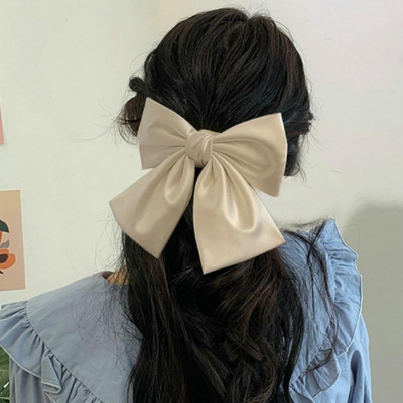 Oversized Bow Hair Accessories Fashion Satin Ribbon Hairpins Big Bow Hairpins Women Girls Satin Ladies Hairpins Cute