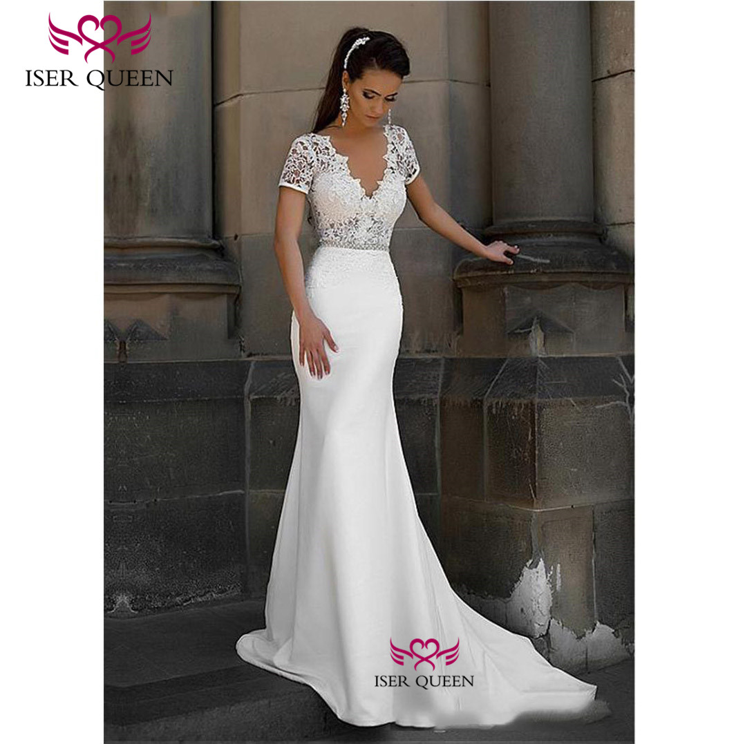 Short Sleeves V-neck Embroidery Mermaid Wedding Dresses Button Lustrous Satin  South America Stylish Vestido De Novia W0628