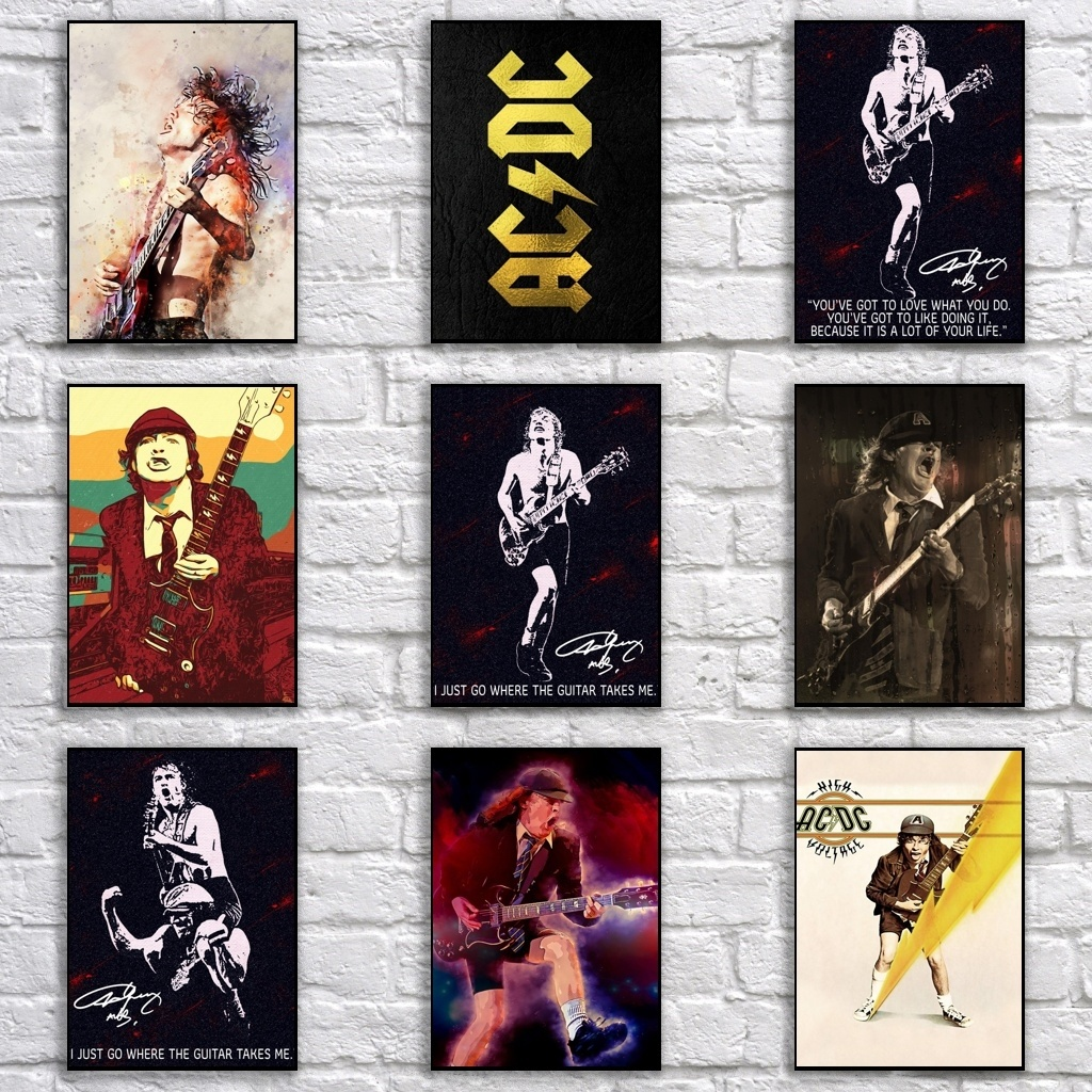 Popular AC/DC Poster Retro Whitepaper Rock Band Poster Art Painting Funny Fancy Wall Sticker For Coffee House Bar