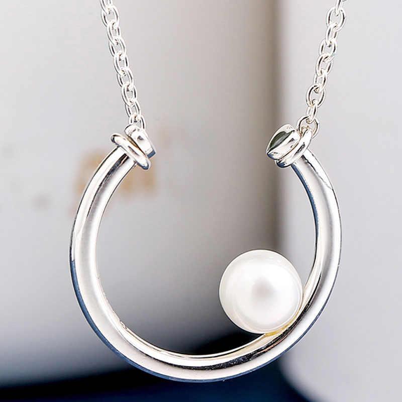 現代真珠永遠コリアーの文字列ビーズ女性のギフト調整ヨーロッパの宝石 925 スターリングシルバーネックレス