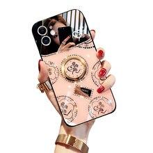 Luxo original rosa hd espelho diamante kickstand à prova de choque silicone caso do telefone para o iphone 12 pro max 11 x xsmax 7 8 mais caso