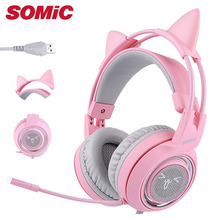Gaming Headphone 7.1 Sound USB Vibration Headset Earphones with Mic Microphone For Computer Gamer Cat Brand Somic G951