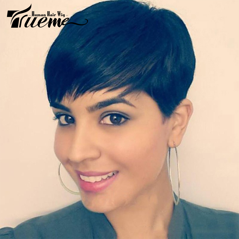 Trueme 100% Human Hair Wigs For Black Women Fashion Pixie Cut Short Hair Wigs Mix Brown Red Remy Brazilian Straight Full Wigs