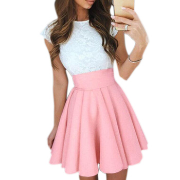New Women's Pleated Skirt High Waist Slim Mini Casual Formal Skirt Party Faldas Mujer Moda 2021 Fashion Woman Skirts - Pink, M
