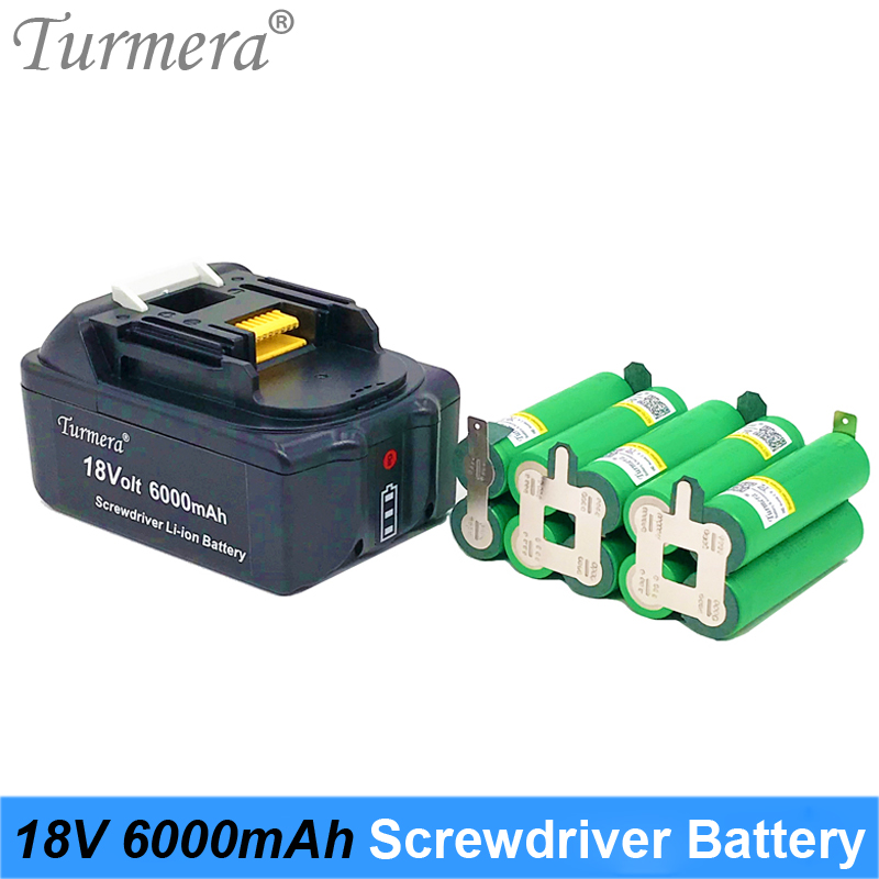 Turmera 18V 6000mAh Screwdriver Battery US 18650VTC6 3000mAh 30A Reachargeable Lithium Battery Cell with 5S BMS for Power Tool image