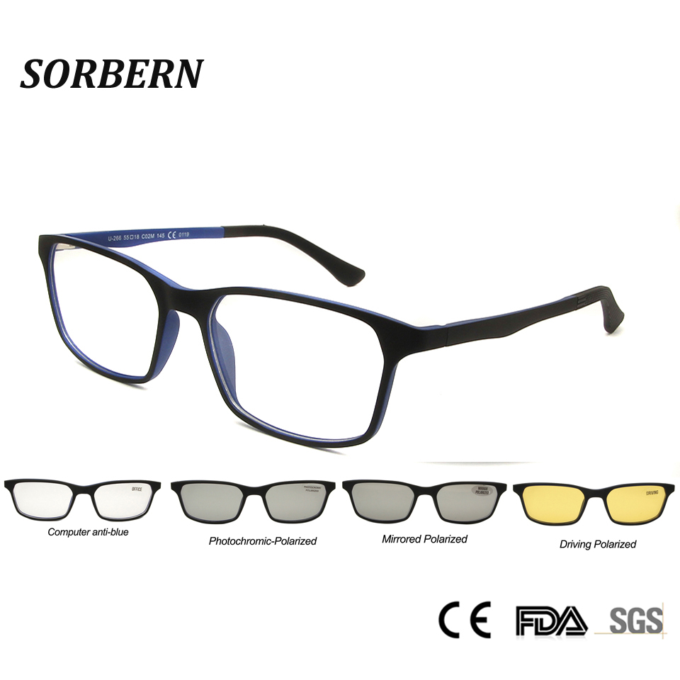 SORBERN Ultem Clip On Sunglasses Polarized Lens Men Women Magnetic Clip Optical Frames Computer Anti Blue Eyewear Night Vision