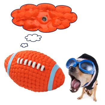 Trwała lateksowa zabawka dla zwierząt domowych w stylu Rugby Mini mała średnia duży pies interaktywna zabawka do żucia zabawka dla psa S L tanie i dobre opinie RUBBER Squeak zabawki Pet Toy Pet Chew Interactive Toy WJ002 Latex