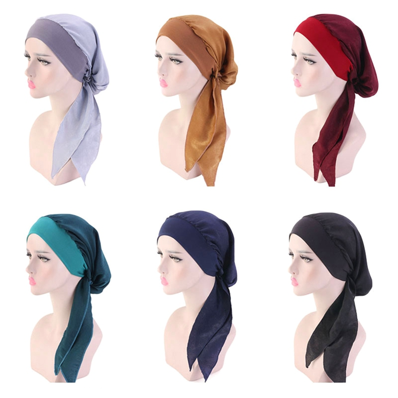 New Long Tail <font><b>Silk</b></font> Breathable Bandanas Turban Hat Wigs Doo <font><b>Durag</b></font> Biker Headwrap Chemo Cap Pirate Hat <font><b>Men</b></font> Hair Accessories image