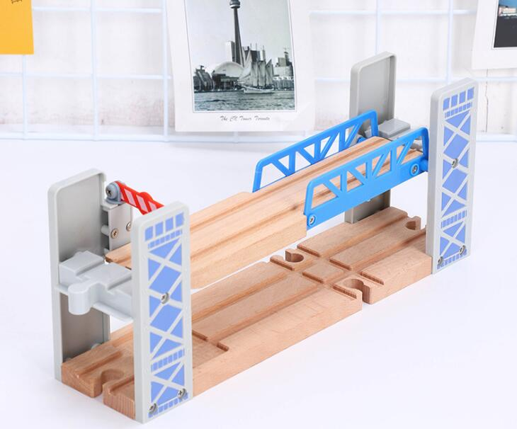 Wooden Train Track Accessories Compatible With Brio Track Overline Bridge Scene Educational Toys Double Layer Fence