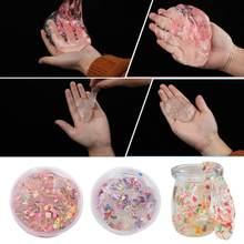 Uma caixa de venda quente transparente frutas cristal lama crianças brinquedos podem ser reutilizados presentes de aniversário favoritos das crianças