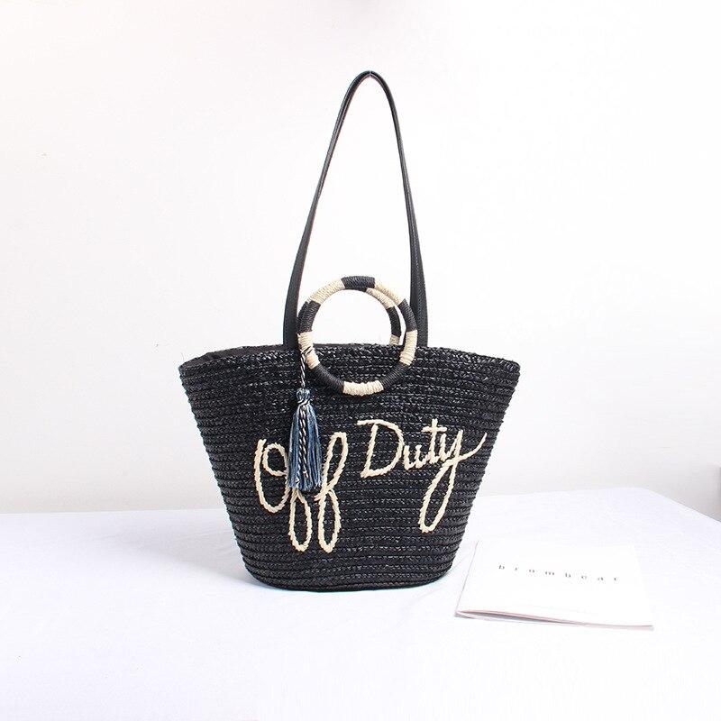 Fashion Contrast Color Tassel Hand Ladle Shoulder Woven Straw Bag Travel Vacation Beach Crossbody Bag