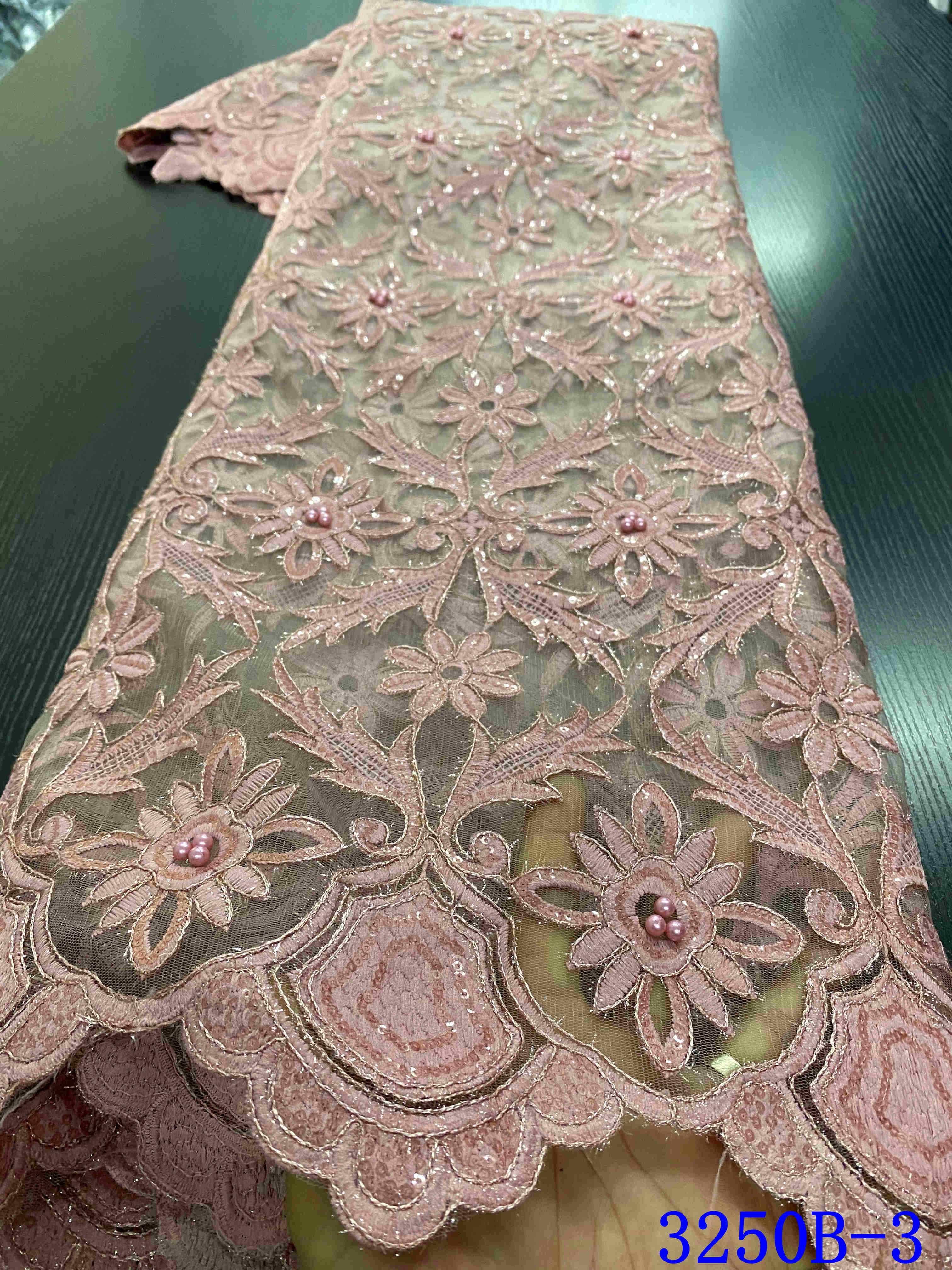 African Lace Fabric With Beads Latest 2020 French Nigerian Lace Fabrics 2020 High Quality Lace Material For Wedding YA3250B-3