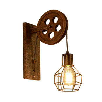 Creative retro Loft adjustable lifting pulley wall lamp porch restaurant aisle corridor pub cafe bra sconce light american country retro decoration livingroom wall lamp art matal loft light pub light aisle light cafe light free shipping