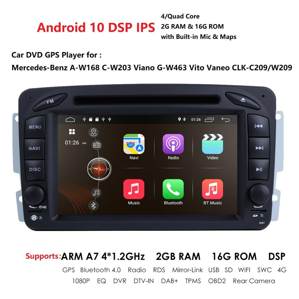 2 Din Android 10 Car DVD <font><b>Radio</b></font> Player car stereo gps <font><b>navi</b></font> For <font><b>Benz</b></font> <font><b>W203</b></font> W208 W209 W210 W463 Vito Viano with wifi bt swc IPS DSP image