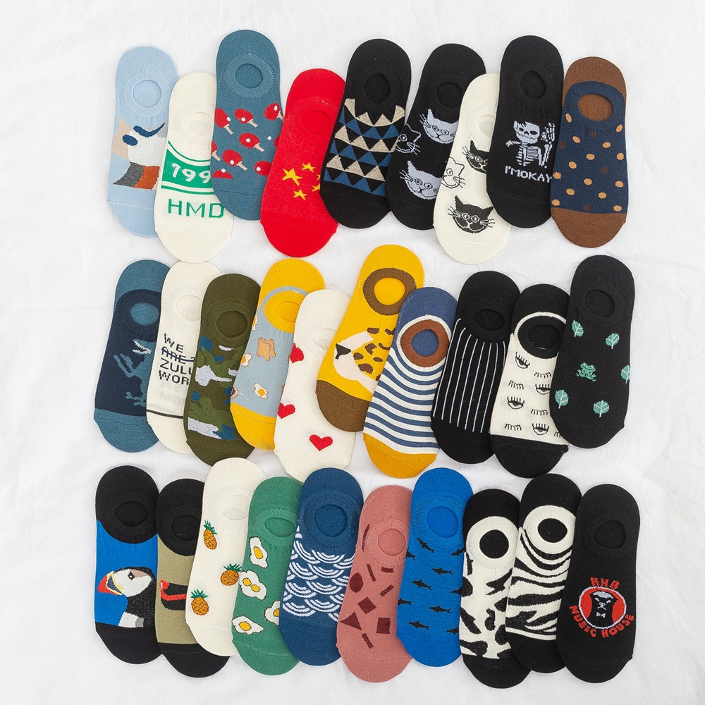 30 Styles Spring And Summer Cotton Socks Invisible Shallow Socks Jacquard European And American Low-top Boat Socks Non-slip
