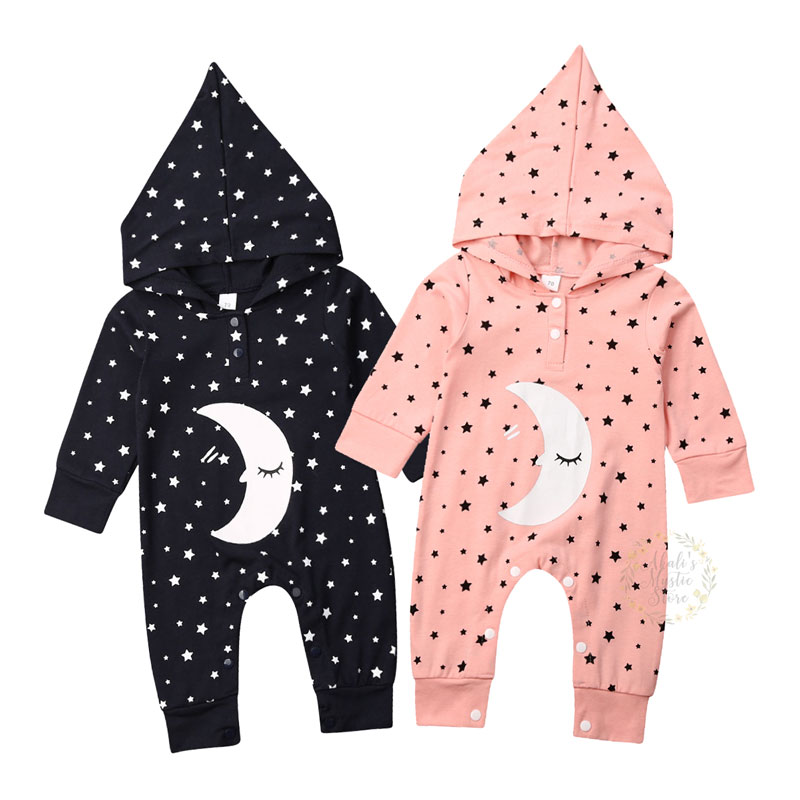 0-18M Newborn Infant Baby Boy Girl   Romper   Cartoon Moon Hooded Jumpsuit Long Sleeve Winter Warm Clothing Toddler Baby Costumes