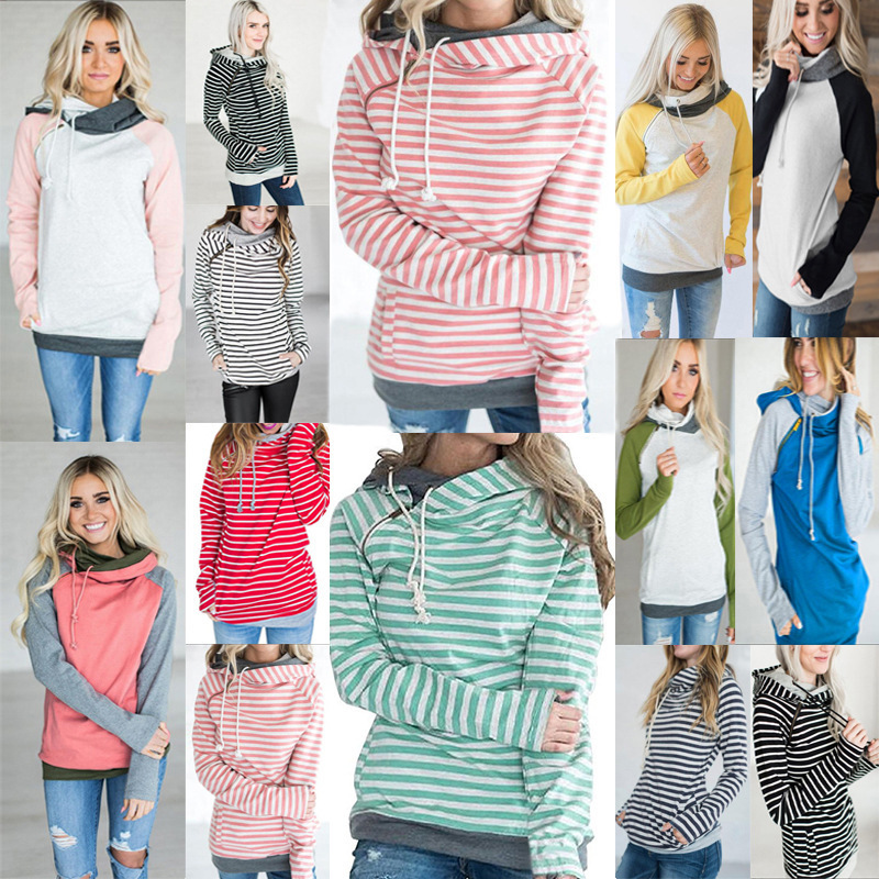 New 12-Colour Autumn Winter Casual Women Patchwork Striped Pullover Warm Long Sleeve Hoody Tops Pockets Double Hooded Sweatshirt