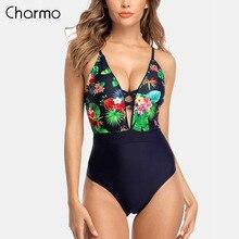 цена на Charmo Monokini Swimsuit Women Swimwear One-piece Floral Backless V-Neck Print Bathing Suit Deep Plunge Beachwear New