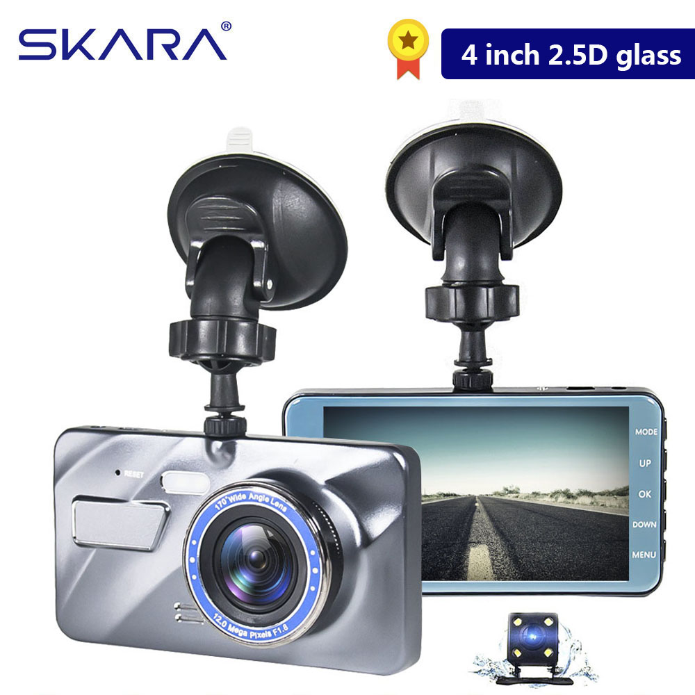 Dual Lens Camera HD Car DVR Dash Cam Video Recorder G-Sensor Night Vision 4 Inch