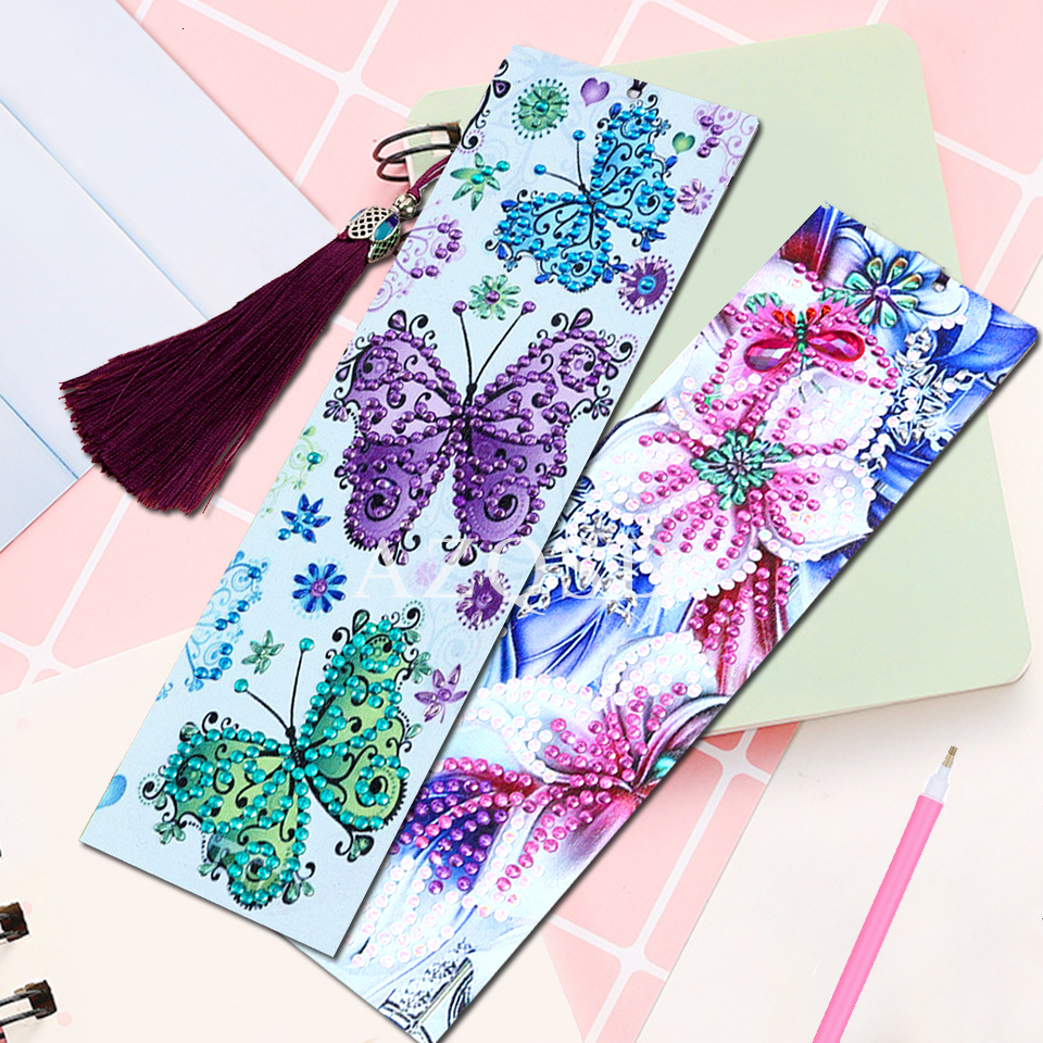 AZQSD DIY Diamond Painting Bookmarks Tassel Gift Special Shaped Diamond Embroidery Flowers Pattern DIY Craft