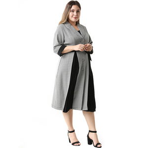 Image 5 - 2020 Abaya Long Summer Womens Dresses Large Plus Size Fashion Elegant Casual Stitching Single Breasted Sashes Midi Suit Dress