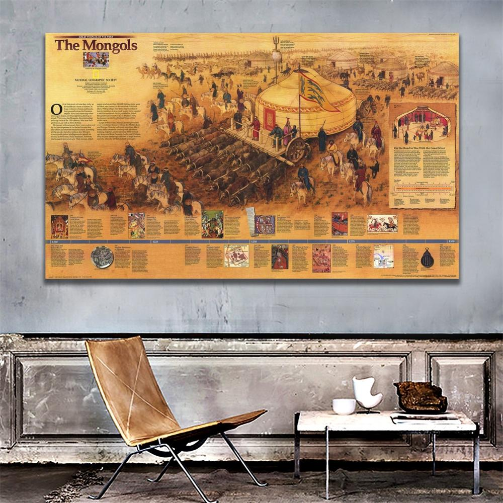 A2 Size 1996 Edition The Wall Map Of Mongols HD Fine Canvas Vinyl Spray Painting For Home Decor Crafts