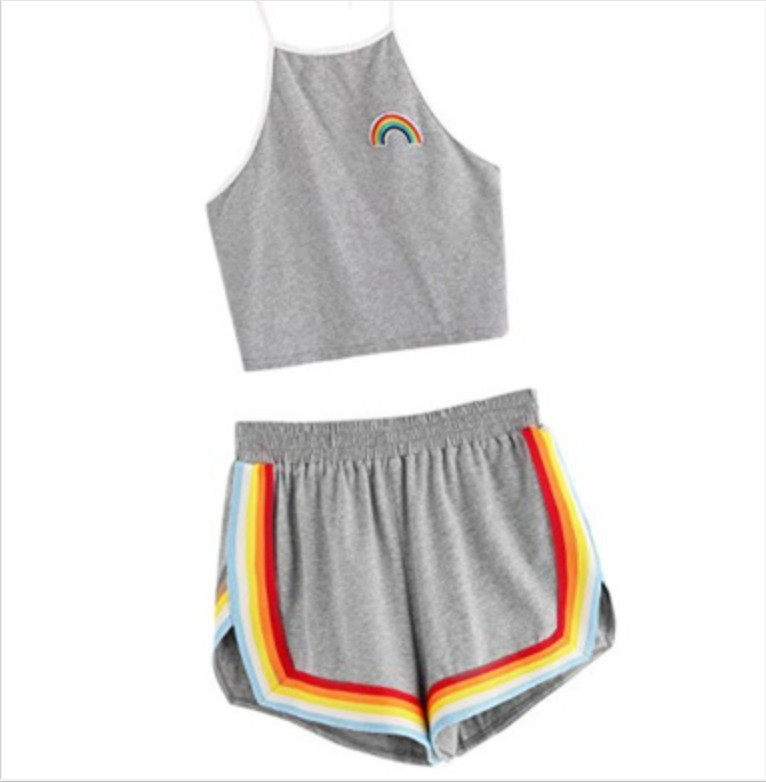 Cross Border Hot Selling AliExpress WOMEN'S Dress Printed Casual Sexy Rainbow Two-Piece Set Shorts Backless Navel