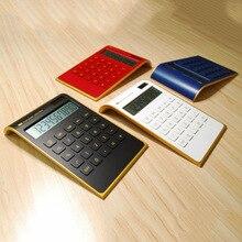 Hot Sale Creative Slim Portable mini 10 digital Calculator Solar Energy Crystal Keyboard Dual Power Supply