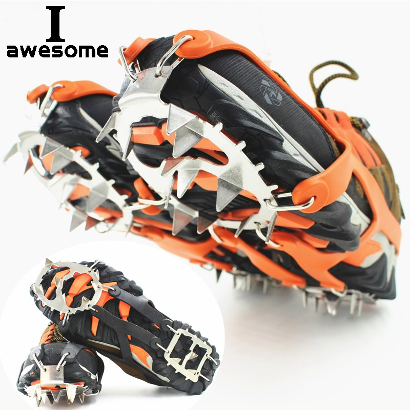 18 Teeth Steel Ice Gripper Spike For Shoes Anti Slip Climbing Hiking Snow Spikes Crampons Cleats Grips Boots Cover Crampons