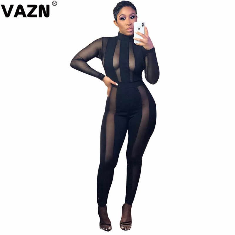 Vazn garm18041 새로운 디자인 검은 붕대 나이트 클럽 우아한 숙녀 점프수트 긴 소매 긴 바지 jumpsuits 섹시한 바람 장난 꾸러기