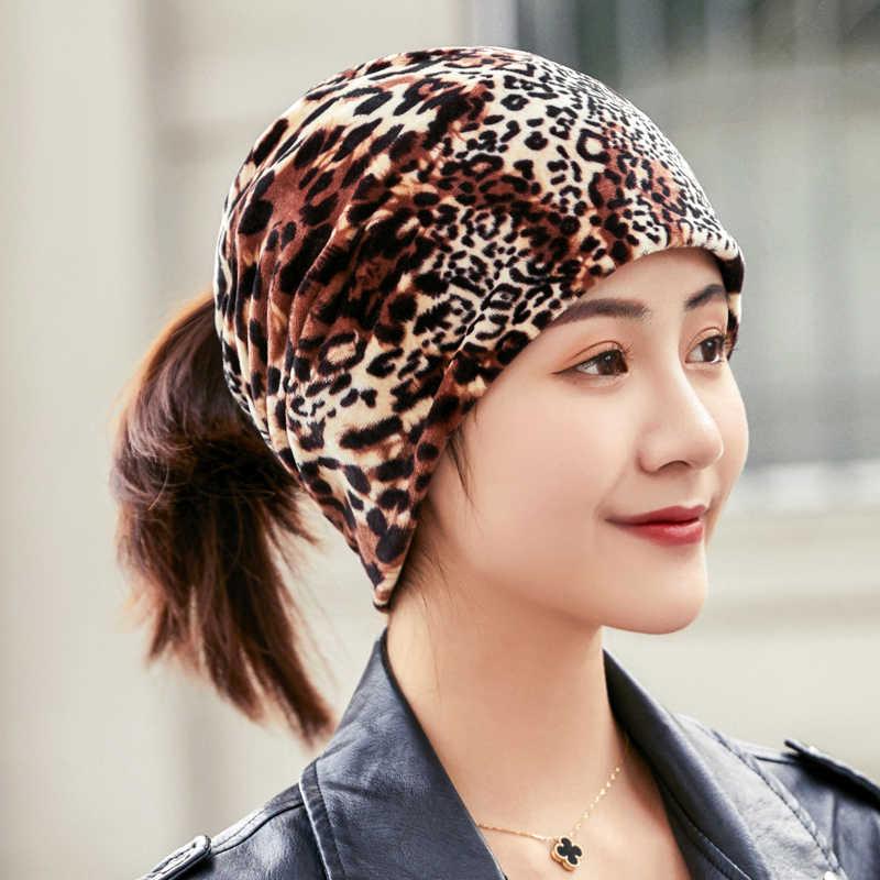 2019 neue Mode Leopard Schal Hüte Frauen Frühling Sommer Herbst Hip Hop Skullies Kappe Für Weibliche Mützen Make-Up Headwear