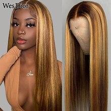 Peruca dianteira do laço reto mel loira destaque marrom frente do laço perucas de cabelo humano para as mulheres preplucked brasileiro 4x4 peruca do laço remy