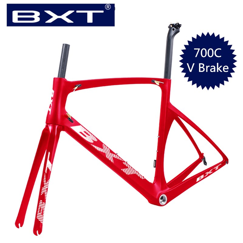 Free Shipping T800 Carbon 700C Road Frame BSA Carbon Racing Frameset Di2 And Mechanical 49/52/54/56cm Road Bicycle Frame V Brake