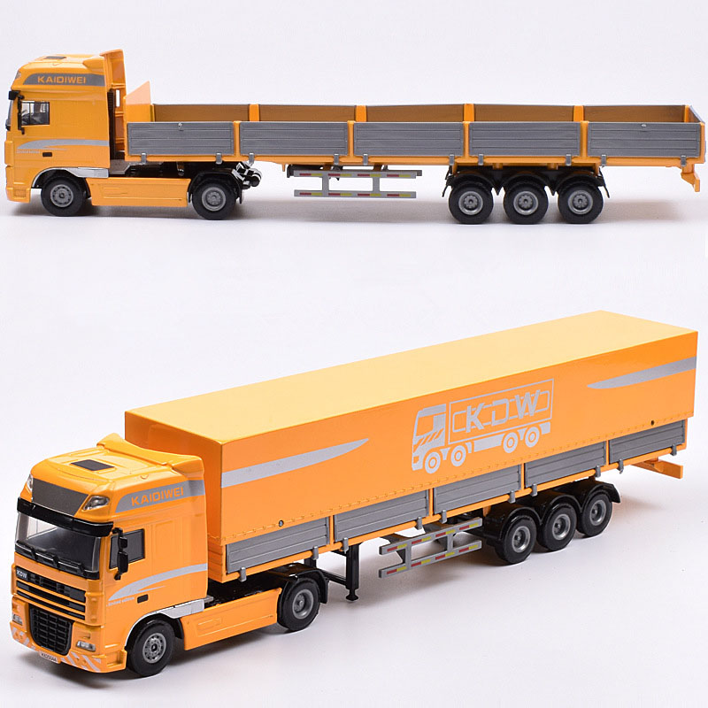 1:50 Scale Metal Alloy Truck Car Model Diecast Cape Flat Transporter Vehicle Model Children Toy Collection Decorations Display