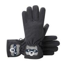 Детские перчатки зима мультфильм Медведь Вышитые двухслойные противоскользящие ветрозащитные термо открытый Handwear для маленьких мальчиков и девочек