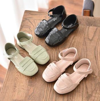 CO01 JY 2020 весенне-летняя детская обувь из искусственной кожи для девочек обувь принцессы на плоской подошве полусандалии 27-36 MQ6203 TX07