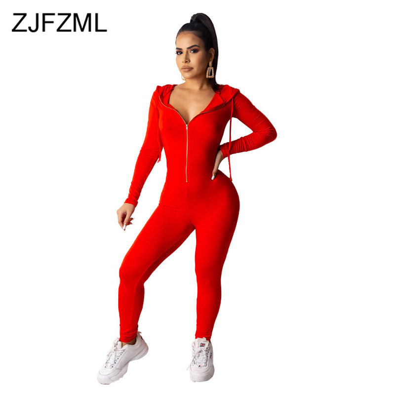 Front Zipper Sexy Rompers Womens   Jumpsuit   Long Sleeve Hooded One Piece Bodysuit Casual Sportswear Solid Plus Size Club Overall