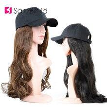 Samtresse 18 pouces Extensions de cheveux ondulés réglables avec casquette noire casquettes de Baseball de cheveux synthétiques avec des cheveux pour la fête de fille