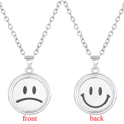 RJ Kpop Smiley Angry Face Necklace Charm Men and Women Street Hip Hop Metal Couple Choker Collier Ins New Trendy 2020