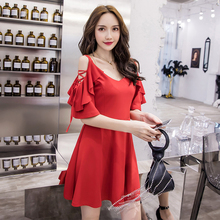 Spring and summer new style Sexy strapless mini dressRed suspender temperament sexy dress