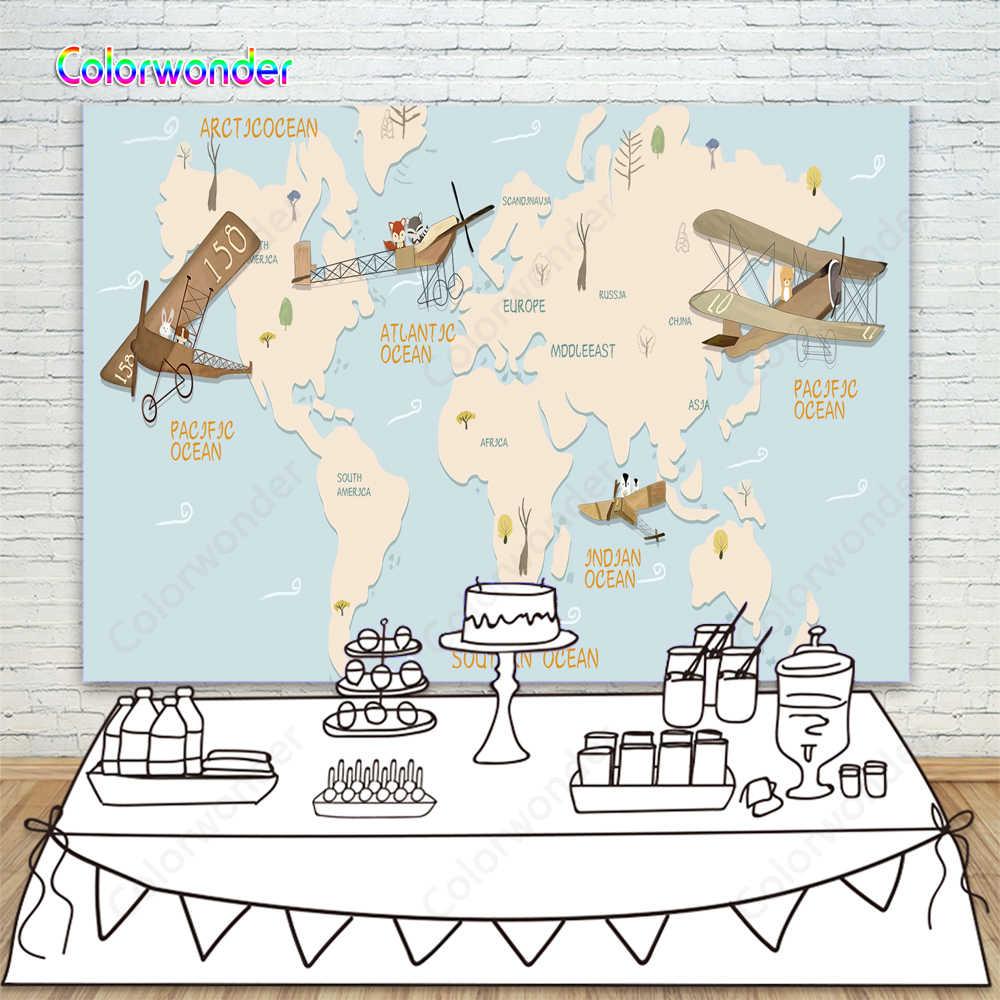 Airplane Map Theme Birthday High Chair Banner Airplane Baby Boy AIRPLANE BIRTHDAY BANNER Primary Colors Birthday Banner Map Banner