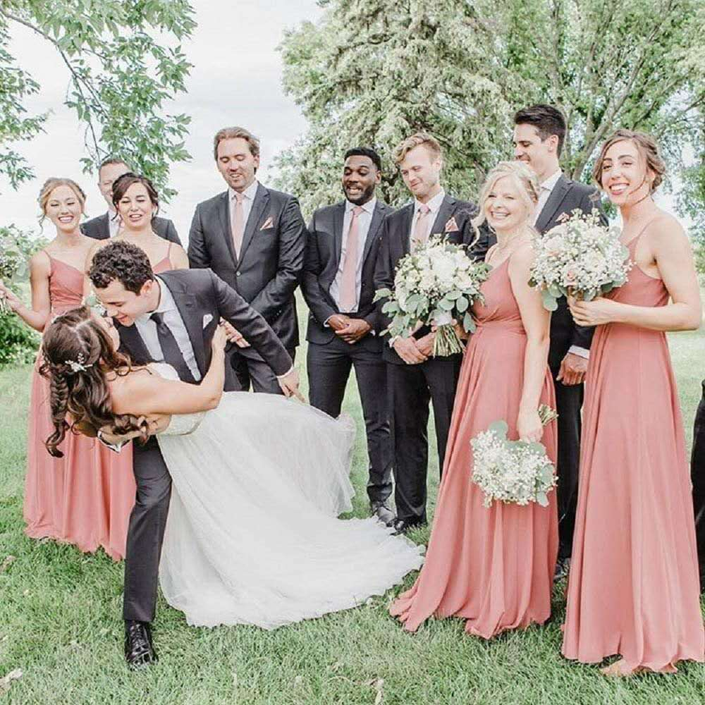 Sexy A-Line Long Chiffon V-Neck Bridesmaid Dresses with Pockets Floor Length Custom Corset Pleated Bodice Wedding Party Dresses