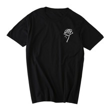 Roses Flower Print Fashion Women T-Shirt Simple Casual Ladies Shirt Top Tee NS flower print shirt
