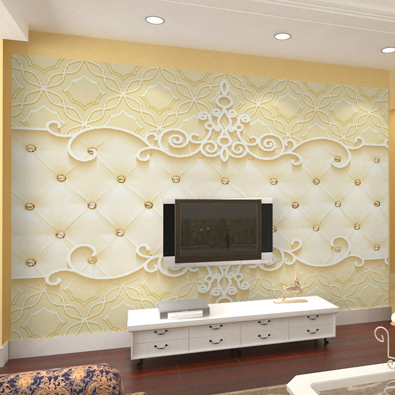 European Style Warm TV Backdrop Wallpaper Soft Bag Modern Minimalist Bedroom Wallpaper 3D Beautiful Blue Mural