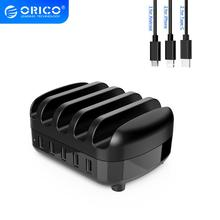 ORICO USB Charger Station Dock with Holder 40W 5V2.4A*5 USB Charging Free USB Cable for iphone iPad Kindle Tablet