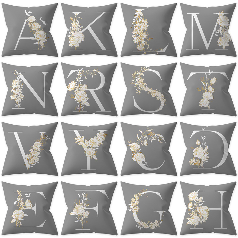 Single-side English Alphabet Letter Print Polyester Decorative Pillowcase White Yellow Flower Gray Cushion Cover Sofa Car Couch